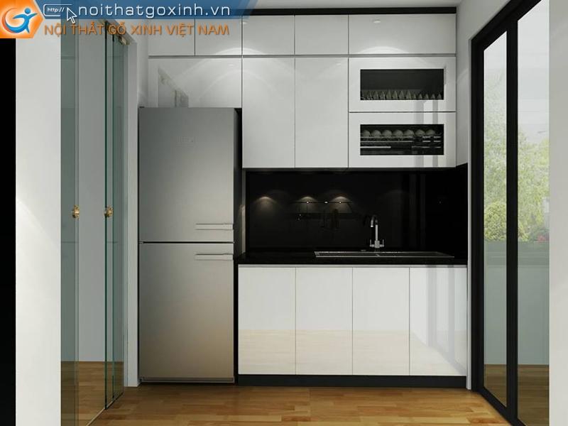 Mẫu tủ bếp đẹp phù hợp với nội thất nhà phố.